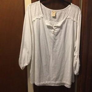 White tabbed sleeve blouse